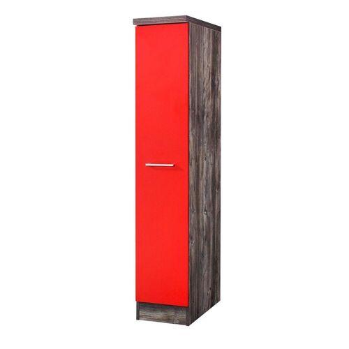 HELD MÖBEL Apothekerschrank »Sevilla, Höhe 165 cm«, rot/ vintage eiche