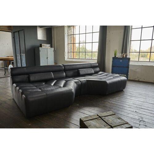 KAWOLA Sofa »TARA«, XXL Big Sofa Leder schwarz mit Kissen