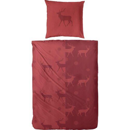 Primera Bettwäsche »Yuna«, , mit Hirschen, rot