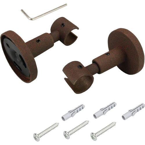 Liedeco Deckenträger für Gardinenstangen, , Gardinenstangen, (1-St), für Gardinenstangen Ø 16 mm, rostbraun