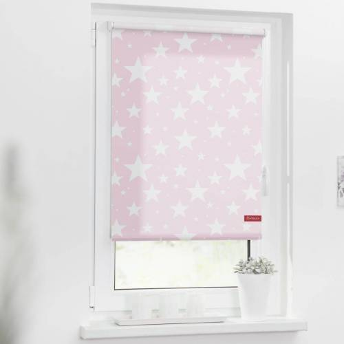 LICHTBLICK ORIGINAL Seitenzugrollo »Rollo Klemmfix, ohne Bohren, blickdicht, Sterne«, , blickdicht, freihängend, rosa