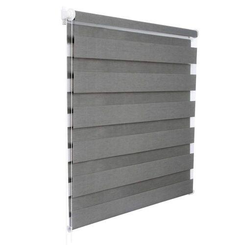 Woltu Doppelrollo, , Duo Rollo ohne Bohren mit Klemmfix für Fenster, Holzlook grau