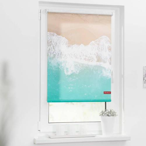 LICHTBLICK ORIGINAL Seitenzugrollo »Rollo Klemmfix, ohne Bohren, blickdicht, The Beach - Türkis Beige«, , blickdicht, freihängend