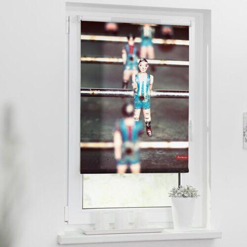 LICHTBLICK ORIGINAL Seitenzugrollo »Rollo Klemmfix, ohne Bohren, blickdicht, Kicker - Grau Blau«, , blickdicht, freihängend