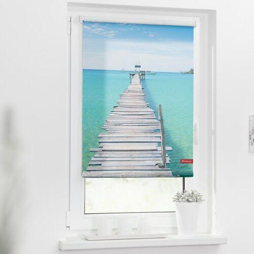LICHTBLICK ORIGINAL Seitenzugrollo »Rollo Klemmfix, ohne Bohren, blickdicht, El Mar - Blau«, , blickdicht, freihängend