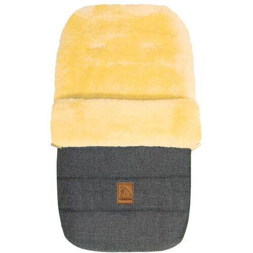 Heitmann Felle Fußsack »Eisbärchen - Winter-Lammfellfußsack«, Baby-Fußsack, mit echtem Lammfell, warm und weich, 6 Gurtschlitze, grau