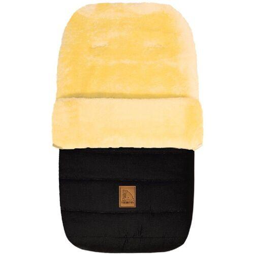 Heitmann Felle Fußsack »Eisbärchen - Winter-Lammfellfußsack«, Baby-Fußsack, mit echtem Lammfell, warm und weich, 6 Gurtschlitze, schwarz