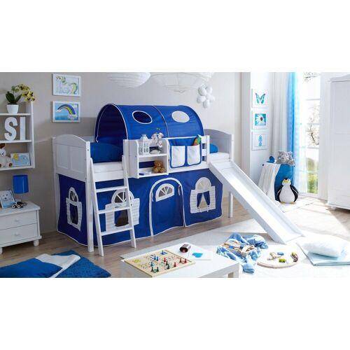 Ticaa Jugendzimmer-Set »Ekki« mit Rutsche und Textil-Set, Kiefer massiv weiß gewachst, blau