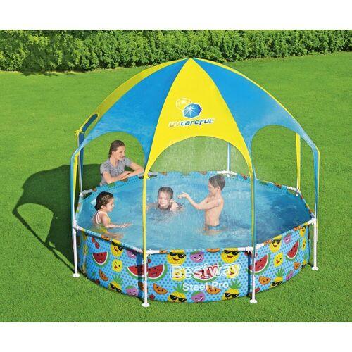 BESTWAY Pool »Steel Pro Pool Kinder rund Sonnenschutzdach UV Schutz Sprinkler 244x51cm« (Artikelnummer des Herstellers ®: 56432), UV Schutz