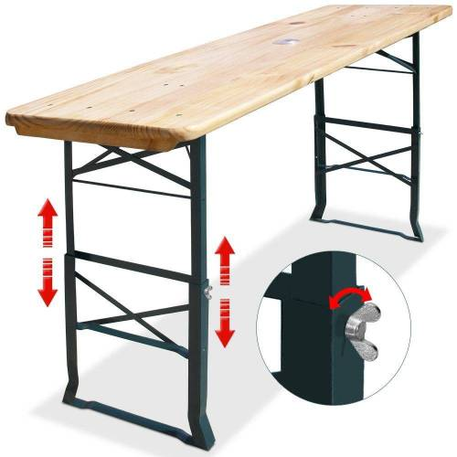 Casaria Stehtisch (1-St), Bierzelttisch 2in1 • robust • Holz Oberflächen mit Klarlack lackiert • Sonnenschirmhalterung • zusammenklappbar • leicht zu verstauen • lackiertes Stahlgestell