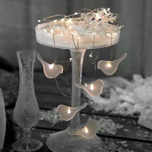 STAR TRADING LED-Lichterkette »LED Lichterkette Vögel Tautropfen Drahtlichterkette 46 LED 5 Stränge Batterie Timer«, 46-flammig