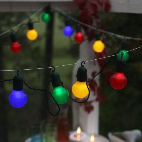 STAR TRADING LED-Lichterkette »LED Party Lichterkette f. Terrasse Balkon 20 bunte Kugeln L: 5,7m mit Haken«, 20-flammig