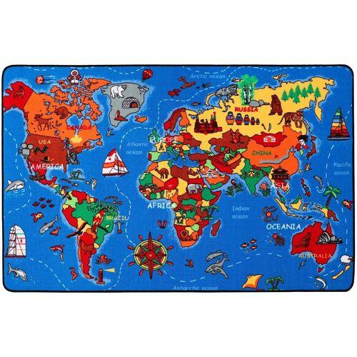 Primaflor-Ideen in Textil Kinderteppich »WELTKARTE«, , rechteckig, Höhe 5 mm, Spielteppich, Motiv Weltkarte, Kinderzimmer