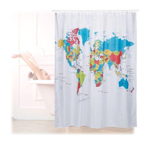 relaxdays Duschvorhang »Duschvorhang Weltkarte 180x180 cm« Breite 180 cm