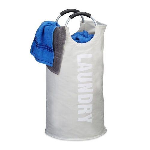 relaxdays Wäschekorb »Faltbarer Wäschekorb mit Henkel«, Weiß