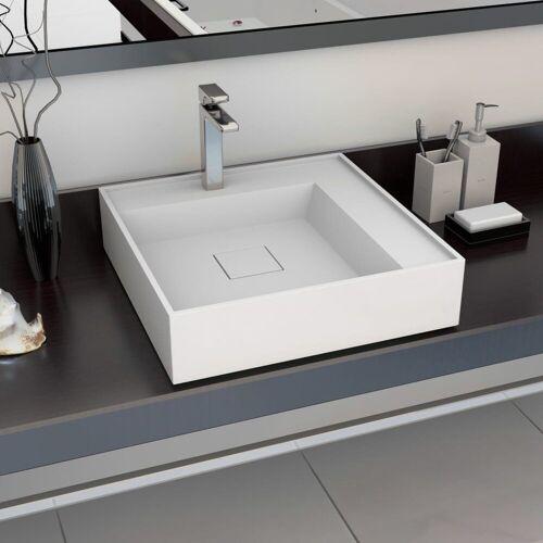 vidaXL Waschbecken »Waschbecken 50 x 50 x 12,3 cm Mineralguss/Marmorguss Weiß«