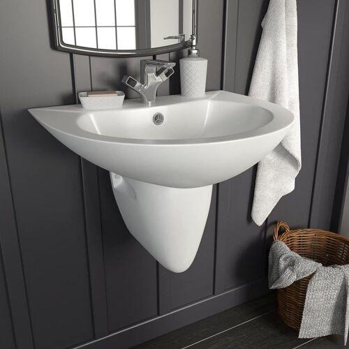 vidaXL Waschbecken »Waschbecken Wandmontage Keramik Weiß 520 x 450 x 190 mm«