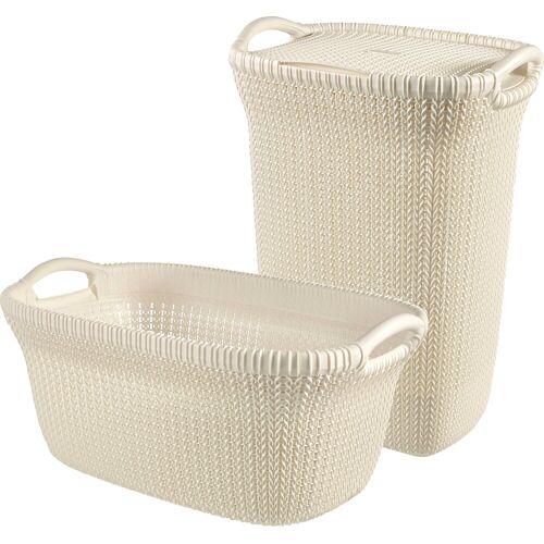 Curver Wäschekorb »Knit« (Set, 2 Stück), und Wäschesammler creme