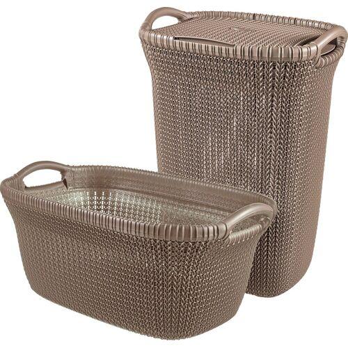 Curver Wäschekorb »Knit« (Set, 2 Stück), und Wäschesammler dunkelbraun