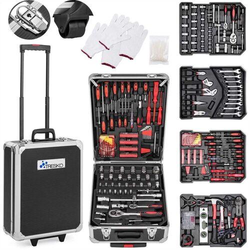 TRESKO Werkzeugkoffer, Werkzeugkasten 949 teilig Werkzeugkoffer Werkzeugkiste Werkzeugtasche Werkzeug Set Werkzeug-Trolley Chrom-Vanadium Stahl, Schwarz