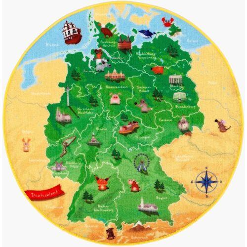Böing Carpet Kinderteppich »DeutschlandKarte DE-1«, , rund, Höhe 2 mm, Spielteppich, Motiv Deutschlandkarte, Kinderzimmer