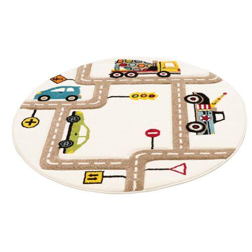 Lüttenhütt Kinderteppich »Strassen«, , rund, Höhe 13 mm, handgearbeiteter Konturenschnitt, Straßen-Spielteppich, Kinderzimmer
