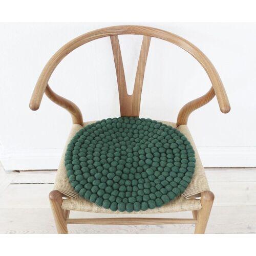 Wooldot Sitzkissen »Uni Color«, rund, Filzkugel-Teppich, reine Wolle, auch als Set bestellbar, grün