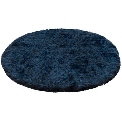 Pergamon Fellteppich »Luxus Super Soft Fellteppich Aspen Rund Meliert«, , Rund, Höhe 50 mm, Dunkelblau