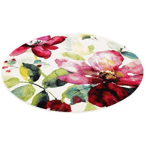 Pergamon Designteppich »Designer Teppich Brilliant Blumen Rund«, , Rund, Höhe 13 mm