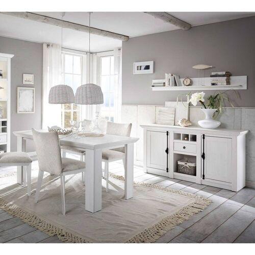 Lomadox Esszimmer-Set »WINGST-61«, (Spar-Set, 4-tlg), Landhaus Esszimmer-Set in Pinie weiß Nb. mit Sideboard (ohne Stühle) Stellmaß Sideboard ca. 83 cm