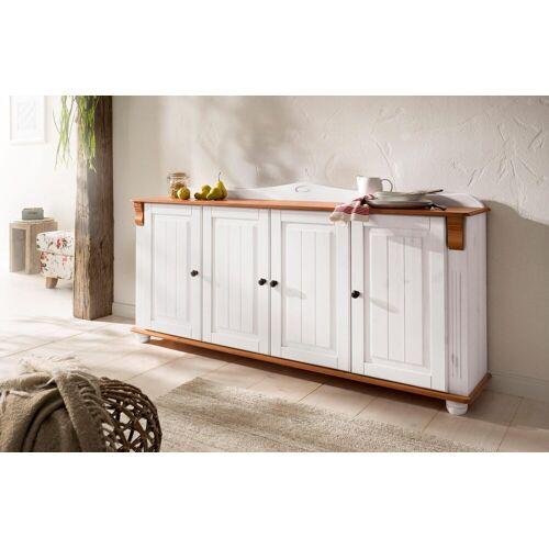 Home affaire Sideboard »Adele«, 4-türig, Breite 180 cm, weiß/kirschbaumfarben