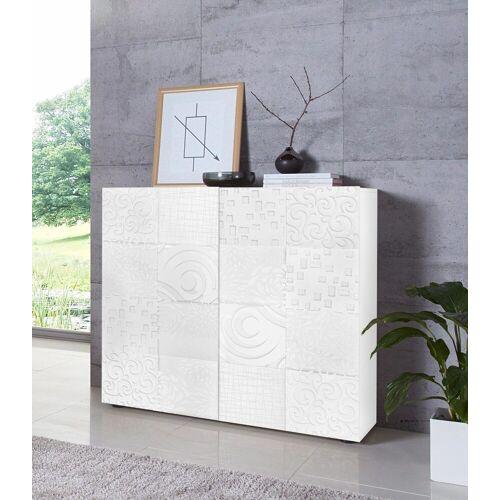 LC Highboard »Miro«, Breite 121 cm mit dekorativem Siebdruck, Weiß Hochglanz Lack mit Siebdruck