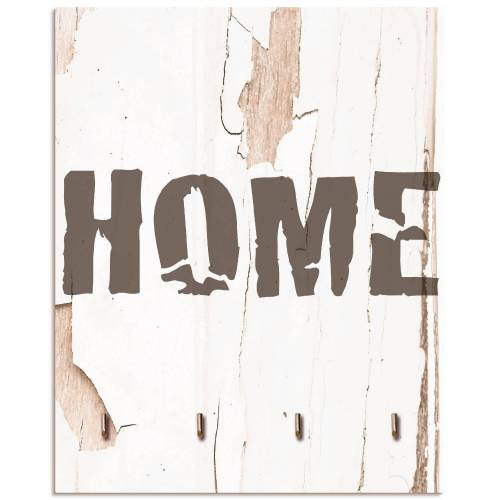 Artland Schlüsselbrett »Home«, aus Holz mit 4 Schlüsselhaken – Schlüsselboard, Schlüsselbretter, Schlüsselhalter, Schlüsselaufhänger für den Flur – Stil: Modern