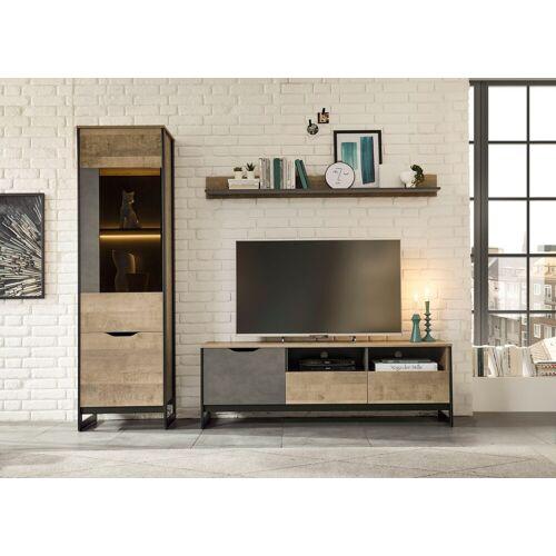 Places of Style Wohnzimmer-Set »Malthe«, (3-St), im trendigen Design, 1 große Vitrine, 1 Lowboard, 1 Wandboard
