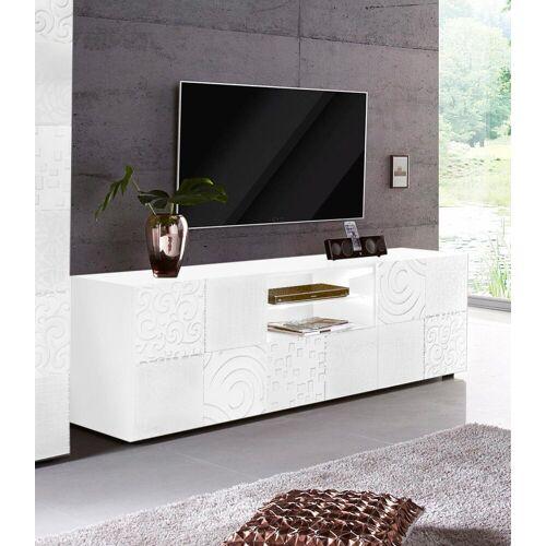 LC Lowboard »Miro«, Breite 181 cm mit dekorativem Siebdruck, Weiß Hochglanz Lack mit Siebdruck