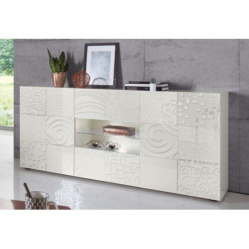 LC Sideboard »Miro«, Breite 181 cm mit dekorativem Siebdruck, Weiß Hochglanz Lack mit Siebdruck