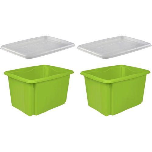 keeeper Stapelbox »emil« (Set, 2 Stück), mit Deckel, 44,5 x 34,5 x 27 cm, 30 Liter, 2er Set, grün