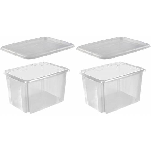 keeeper Stapelbox »emil« (Set, 2 Stück), mit Deckel, 44,5 x 34,5 x 27 cm, 30 Liter, 2er Set, transparent