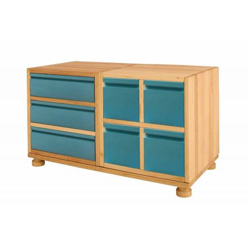 BioKinder - Das gesunde Kinderzimmer Kommode »Laura«, Spar-Set: Mini-Kommode, Erle und Kiefer blau, Ocean-Blau