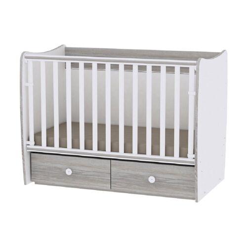 Lorelli Komplettbett »Babybett MATRIX NEW«, Babyschaukel, 2 Schubladen, Kinderbett, 120 x 60 cm, grau