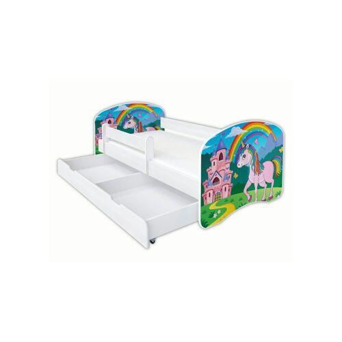 Clamaro Kinderbett (Kinderbett Babybett Jugend, Gitterbett mit Matratze, Schlummerland 2021 ), Nr.31 Einhorn_Schloss