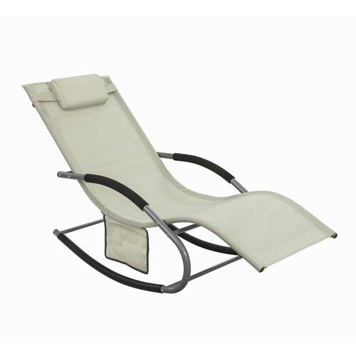 SoBuy Gartenliege »OGS28« Swingliege Schaukelliege Sonnenliege Liegestuhl mit Tasche, beige