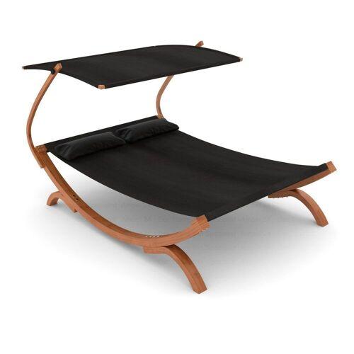 Ampel 24 Gartenliege »Doppelliege Panama schwarz« aus wetterfestem Holz, mit verstellbarem Dach