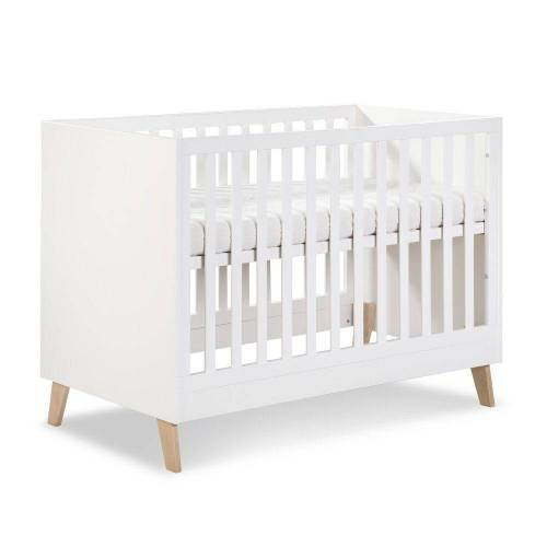 Clamaro Babybett, 'NOAH' 120 x 60 Babybett Gitterbett aus Holz inkl. Lattenrost (3-fach höhenverstellbar) mit 3 herausnehmbaren Gitterstäben - Kinderbett Maße: 124 x 65,5 x 88 cm