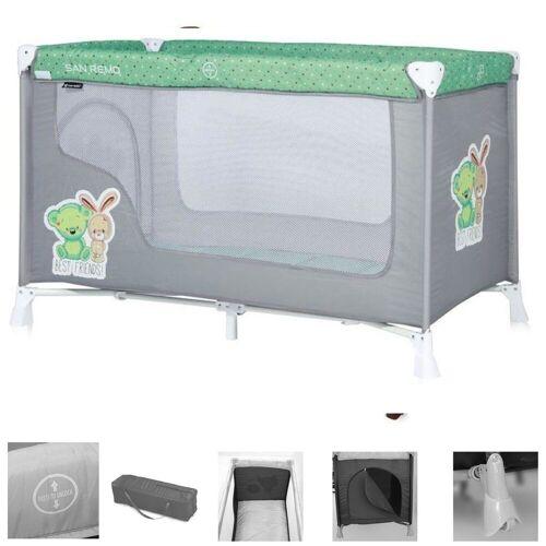 Lorelli Baby-Reisebett »Baby Reisebett und Laufstall REMO«, Laufstall, Babybett mit Rädern, Tragetasche, grau/grün
