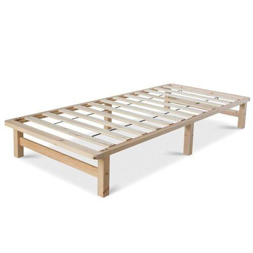 Homestyle4u Holzbett, Palettenbett mit Lattenrost, 90 cm und 140 cm, Natur