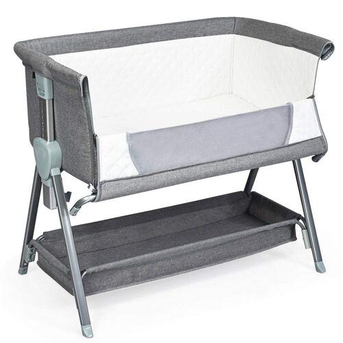 COSTWAY Babybett »2 in 1 höhenverstellbares Beistellbett & Kinderbett«, Grau
