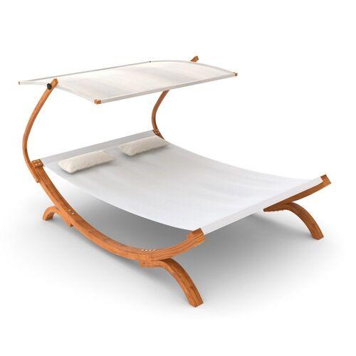 Ampel 24 Gartenliege »Doppelliege Panama weiß« aus wetterfestem Holz, mit verstellbarem Dach