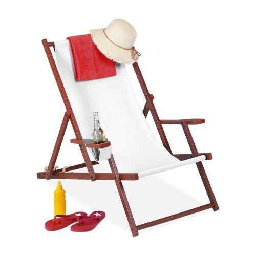 relaxdays Gartenliege »Liegestuhl Holz Stoff«, Weiß