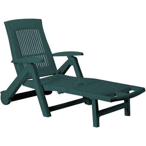 Casaria Gartenliege Gartenliege Zircone Kunststoff Rollen klappbar verstellbare Rückenlehne Rollliege Liegestuhl Grün, Grün